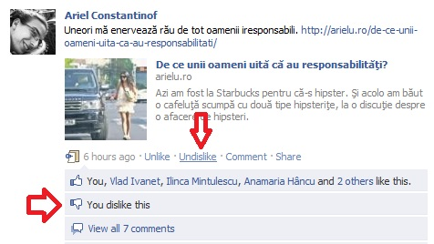 Avem dislike la Facebook! Victorie!