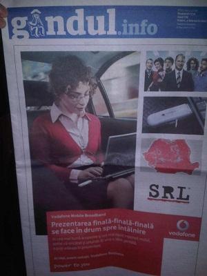 Gândul are pe prima pagină doar o reclamă imensă Vodafone.